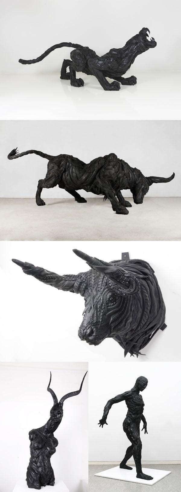 Yong Ho Ji - Sculptures en gomme de pneu