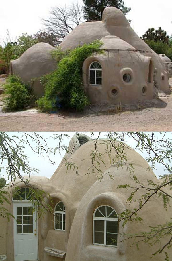 La maison avec les murs de sacs recouverts