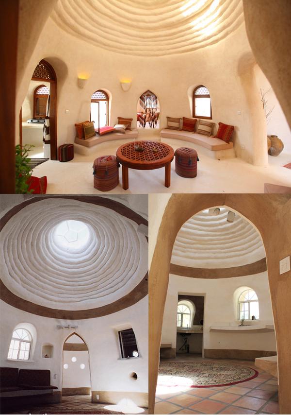 Trois exemples de l'intérieur de l'eco-dome